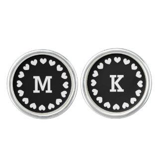 Personalized monogram round cufflinks with hearts