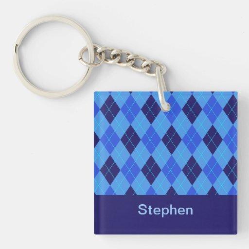 Personalized monogram S boys name blue argyle Square Acrylic Key Chains