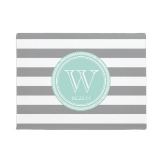Personalized Monogram Seafoam and Grey Striped Doormat
