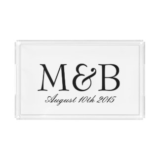 Personalized monogram serving tray for wedding