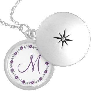 Personalized Monogram Silver Plated Locket Purple