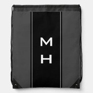 Personalized monogram striped drawstring bag