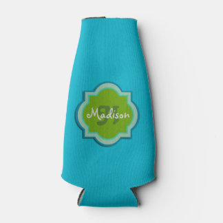 Personalized Monogram Teal Bottle Cooler