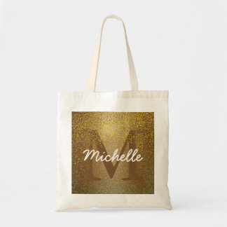 Personalized Monogram Tote Bag, Faux Gold Glitter