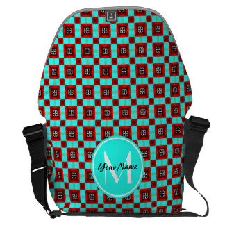 Personalized Monogram Turquoise and Red Pattern Courier Bags