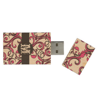 Personalized Monogram Whimsical Hot Pink Black Wood USB 2.0 Flash Drive