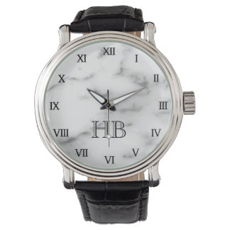 Personalized monogram white marble watch for men