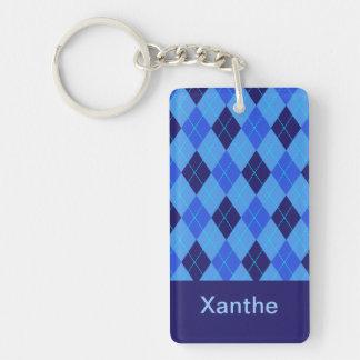 Personalized monogram X girls name blue argyle Double-Sided Rectangular Acrylic Key Ring