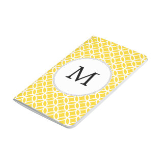 Personalized Monogram Yellow Double Rings Pattern Journals