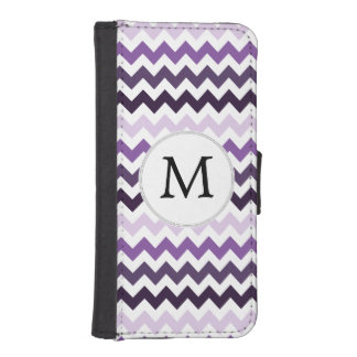 Personalized Monogram zigzag purple and White iPhone SE/5/5s Wallet Case