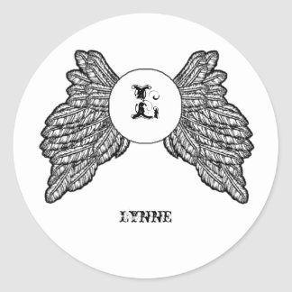 Personalized Monogrammed Angel Wings Round Sticker