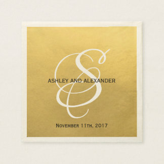 Personalized Monogrammed Custom Gold Foil Wedding Disposable Serviettes