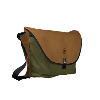 Personalized Monogrammed Green Tan Rickshaw Bag Courier Bags