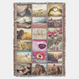 Personalized monogrammed photo throw blanket