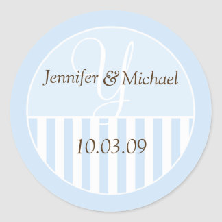 Personalized Monogrammed Wedding Favor Labels Round Sticker