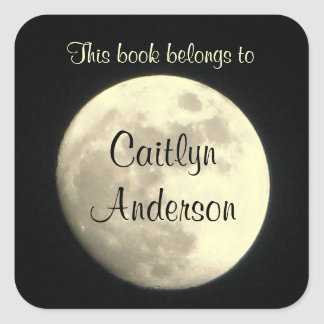 Personalized Moon Bookplate Sticker