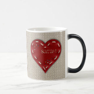 Personalized Morphing Mug with Leather Heart