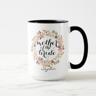 Personalized Mother of the Bride Floral Wreath Mug