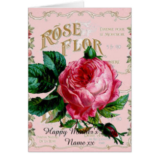 Personalized Mother's Day gifts, vintage rose pink Greeting Card