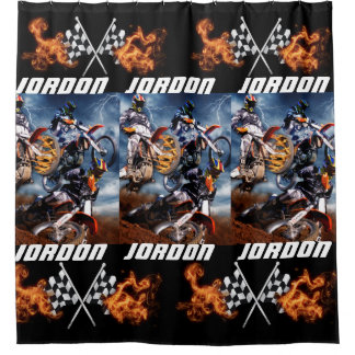 Personalized motocross and checkered flags shower curtain