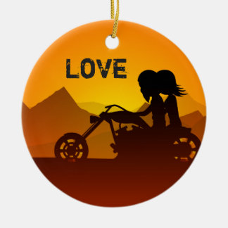 Personalized Motorcycle Couple at Sunset LOVE Ceramic Ornament