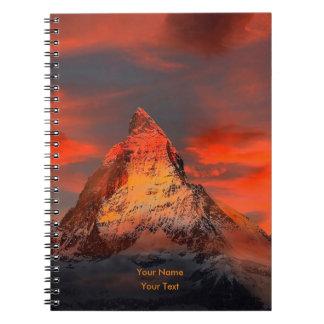 Personalized Mountain Matterhorn Zermatt Red Sky Notebook
