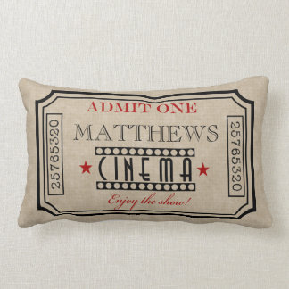 Personalized Movie Theater Ticket Pillow- red Lumbar Cushion