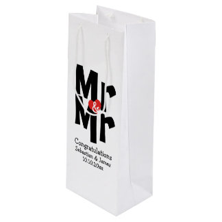 Personalized Mr and Mr Black Red Bold Modern Wine Gift Bag