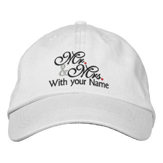 Personalized Mr. and Mrs. Husband Wife His Hers Baseball Cap