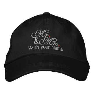 Personalized Mr. and Mrs. Husband Wife His Hers Embroidered Hat