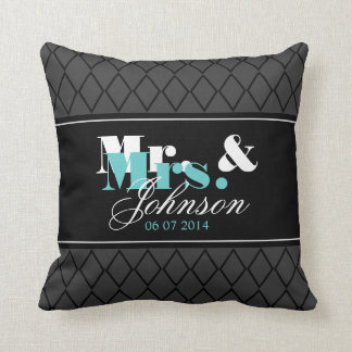 Personalized Mr and Mrs throw pillow for newlyweds Throw Pillow