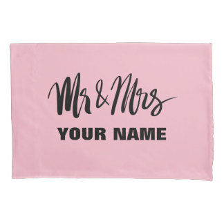 Personalized mr and mrs typography newly weds pillowcase