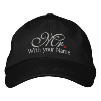 Personalized Mr. Husband Groom His Hers Newly Weds Embroidered Hats