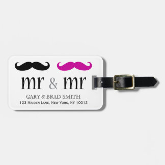 Personalized Mr. & Mr. Mustache Luggage Tag