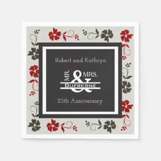 Personalized Mr & Mrs Anniversary/Wedding Floral Paper Napkins