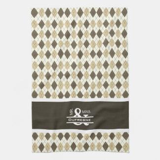 Personalized Mr & Mrs Beige Argyle Golf Tea Towel