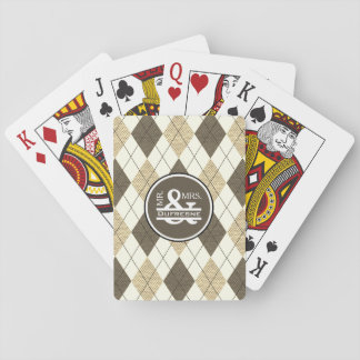Personalized Mr & Mrs Beige Argyle Playing Cards