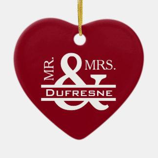 Personalized Mr & Mrs Ceramic Ornament
