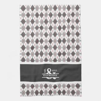 Personalized Mr & Mrs Gray Argyle Golf Tea Towel