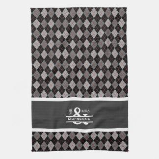 Personalized Mr & Mrs Gray/Black Argyle Golf Tea Towel