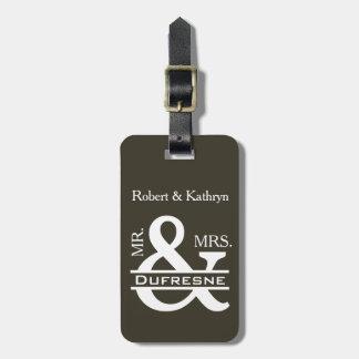 Personalized Mr & Mrs Khaki Luggage Tag