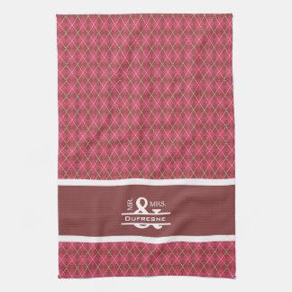 Personalized Mr & Mrs Pink Argyle Golf Tea Towel