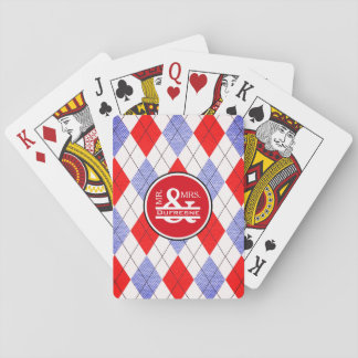 Personalized Mr & Mrs Red/Blue Argyle Playing Cards