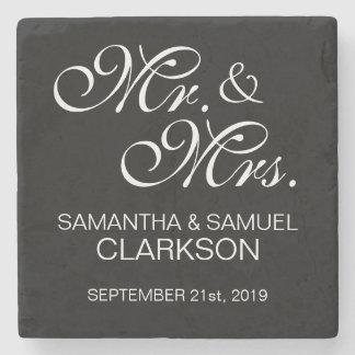 Personalized MR. & MRS. White Black Wedding Favors Stone Coaster