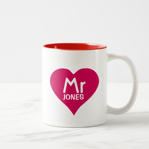 Personalized Mr Mug in red heart