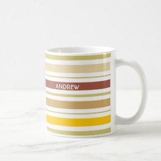 Personalized Mug Green & Brown Geometric Stripes