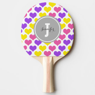 Personalized Multi-Colored Hearts Ping Pong Paddle