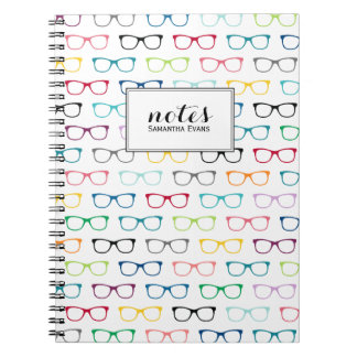 Personalized Multicolor Nerd Glasses Pattern Spiral Notebooks
