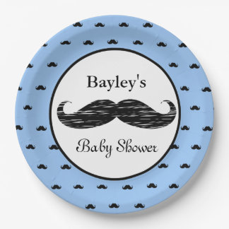 Personalized Mustache Baby Shower Paper Plates 9 Inch Paper Plate