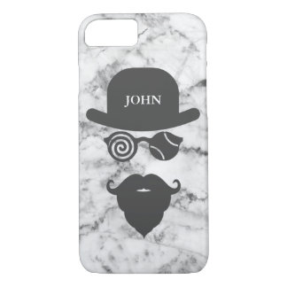 Personalized Mustache Londoner Tennis Marble White iPhone 8/7 Case